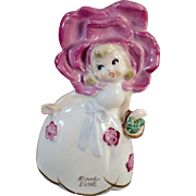 Vintage Flower Girl Birthday Bell - Colorful Old June Rose Figurine