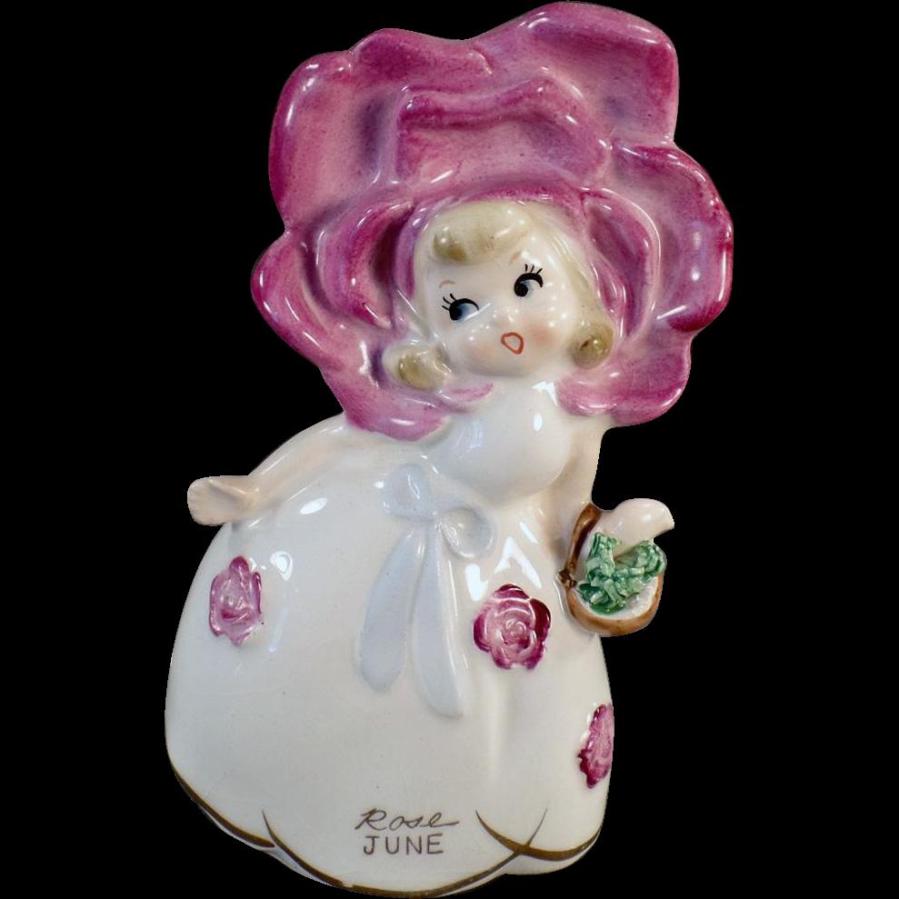 Vintage Flower Girl Birthday Bell - Colorful Old June Rose Figurine