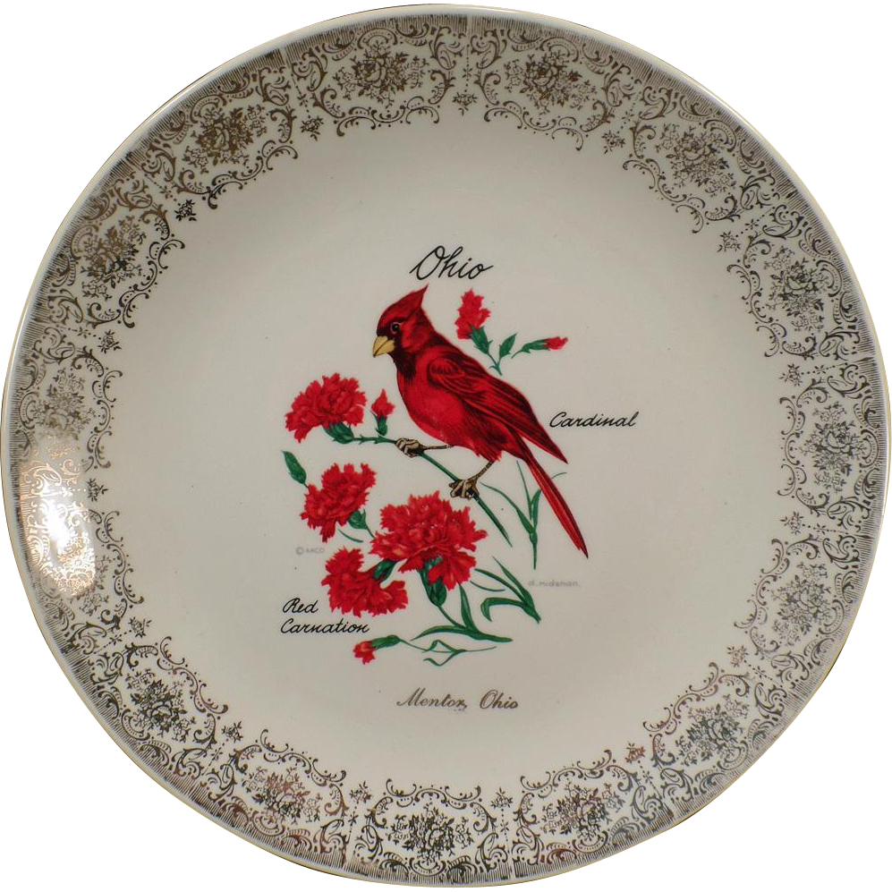 Vintage Mentor Ohio Souvenir Plate – Colorful Old Plate with Cardinal and Carnation - D.Rudeman