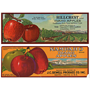 Vintage Fruit Crate Labels for Apples - Two Old Labels with Great Advertising Graphics