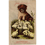 Vintage Advertising Trade Card - Larkin Company - Boraxine - Puppy and Baby Chicks