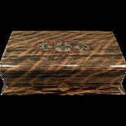 Vintage Celluloid Dresser Box – Wood Grain Celluloid – Masculine Vanity Case