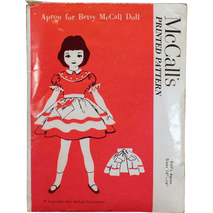 """Vintage 1952 McCall's Pattern – Old Apron Pattern for Betsy McCall – Size 14""""-16"""""""