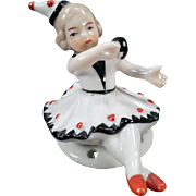 Vintage Half Doll – Small, Full Figure, Seated Little Girl Pierrette