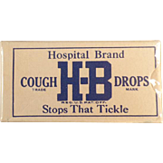 Vintage Cough Drop Sample Box - Old H-B Cough Drops - Unopened Hospital Brand