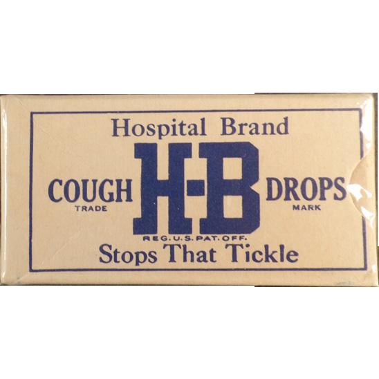 Vintage Cough Drop Sample Box - Old H-B Cough Drops - Unopened Hospital Brand