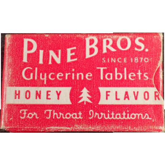Vintage Sample Cough Drop Box - Old Pine Bros. Test Sample Box
