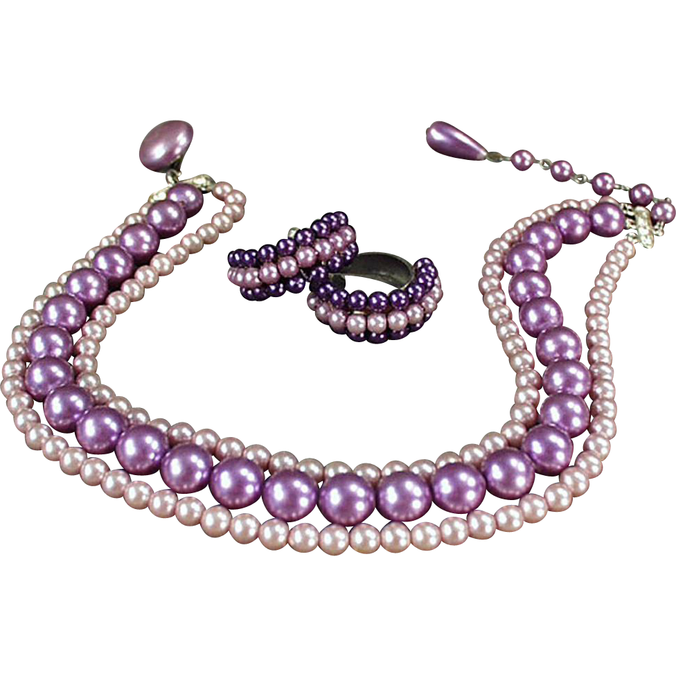 Vintage Costume Jewelry - Old Purple Bead Triple Strand Choker and Earring Suite