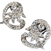 Vintage Costume Earrings - Fancy Old Rhinestone Clip-On Earrings