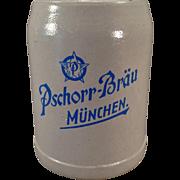 Vintage Beer Mug – Old German Stoneware Stein – Pschorr-Brau Muchen .5L
