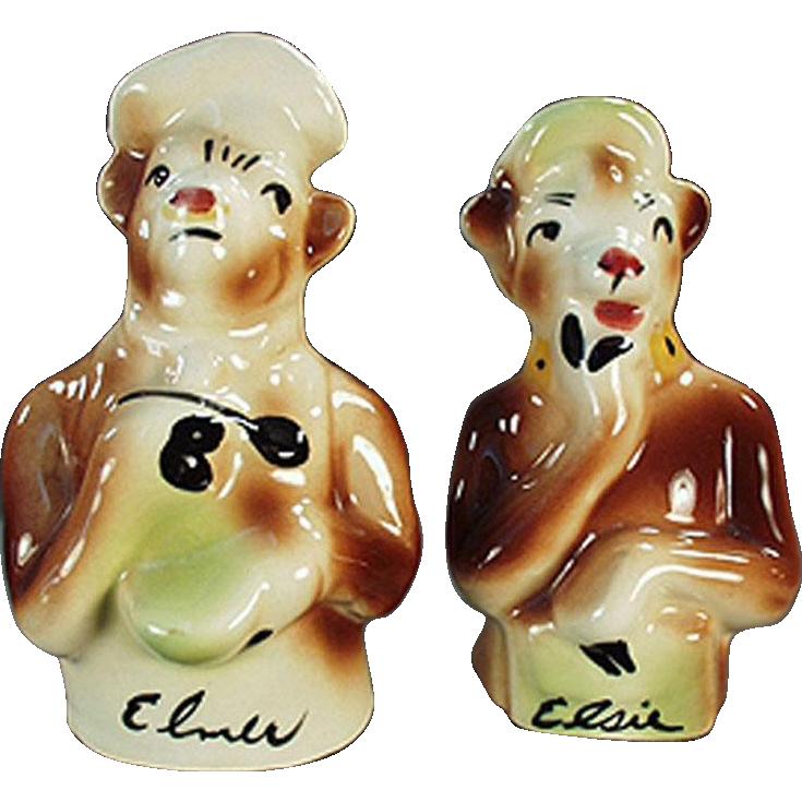 Vintage Salt & Pepper Set - Borden's Famous Old Cows - Elsie and Elmer