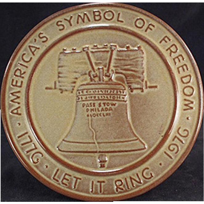 Vintage Frankoma Trivet - Old Pottery Hot Plate - Bicentennial Liberty Bell