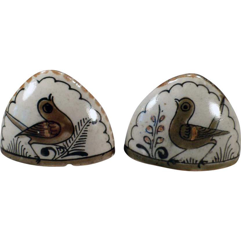 Mexican Pottery Salt & Pepper Set – Old K.E. Signed Pottery with Birds