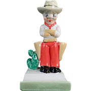 Vintage Toothbrush Holder - Grumpy Cowboy - Old Tooth Brush Holder