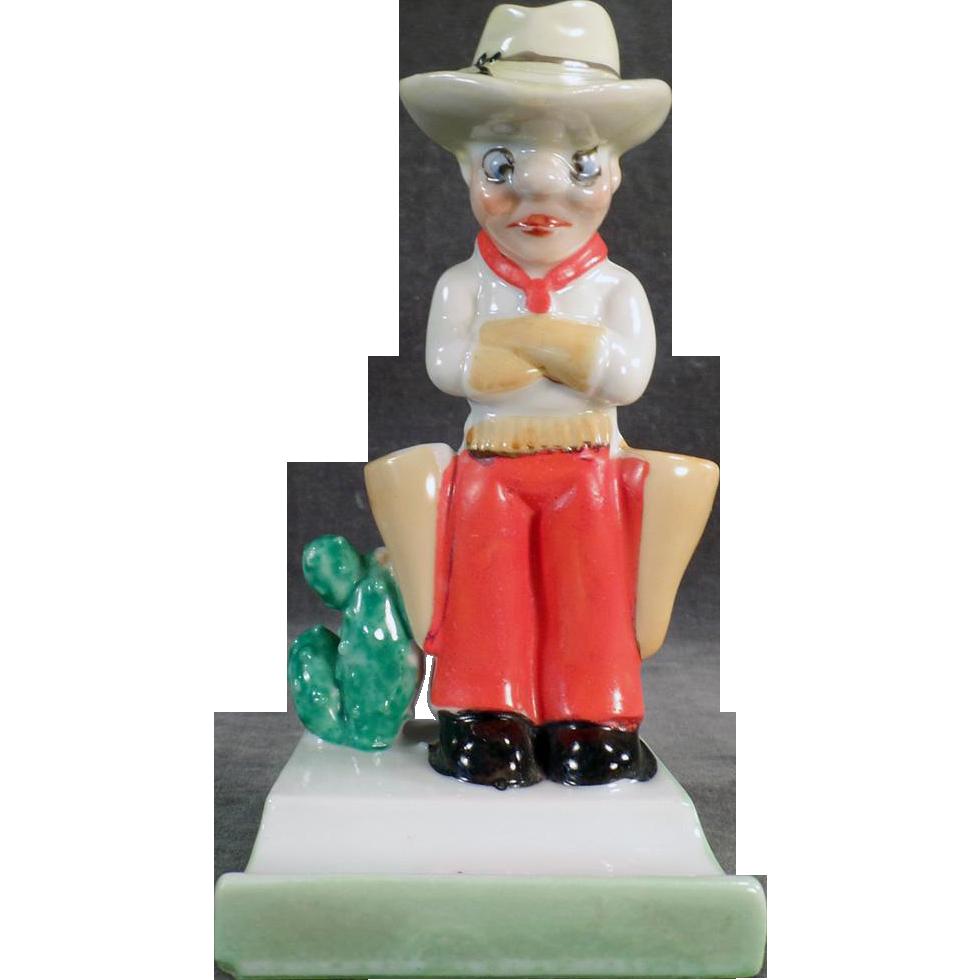 Vintage Toothbrush Holder - Grumpy Cowboy - Old Tooth Brush Holder