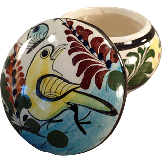 Old Mexican Pottery Covered Dresser Jar - Colorful Bird Design