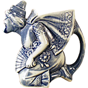Vintage Schafer and Vater Pitcher - Blue Woman Porcelain Pitcher