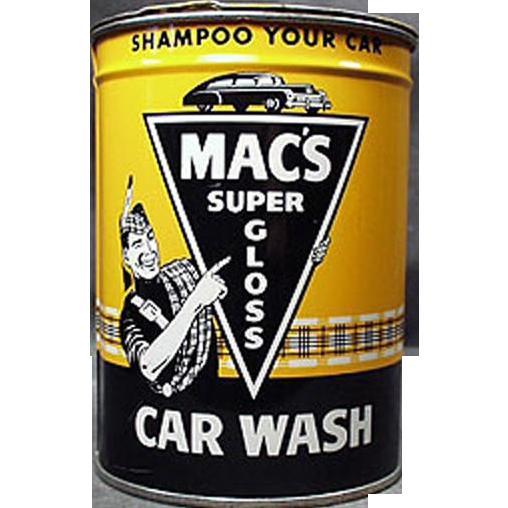 Vintage Automotive Advertising Tin - Old Mac's Car Wash Tin