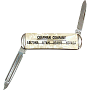Vintage Advertising Pen Knife - Small Old Pocket Knife - Chapman Company