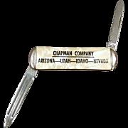 Vintage Advertising Pen Knife - Small Old Pocket Knife - Chapman Company