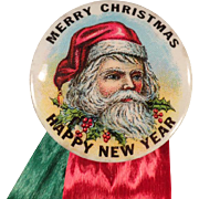 Vintage Santa Claus Celluloid Pinback - Old Christmas Pin Back with St Nicholas - Original Ribbons and Card