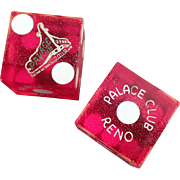Vintage Lucite Dice - Palace Club Casino Gaming Dice - Reno Nevada