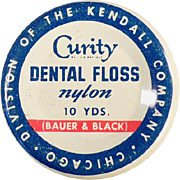 Vintage Medical Tin - Curity Dental Floss Tin by Bauer & Black