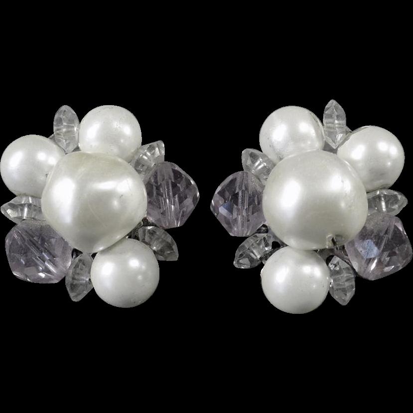 Vintage Costume Jewelry -  Old Earrings - Beaded Laguna Clip-Ons
