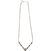 Vintage Costume Jewelry - Single Strand Rhinestone Necklace with Baguette Shapes