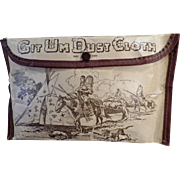 Vintage Git-Um Dust Cloth Pouch with Indian Motif - Unusual Old Automotive Accessory