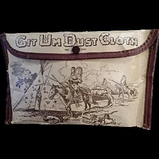 Vintage Git-Um Dust Cloth Pouch with Indian Motif - Unusual Old Automotive Accessory