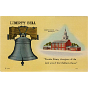 Vintage Postcard - The Liberty Bell & Independence Hall - Old  Patriotic Postcard