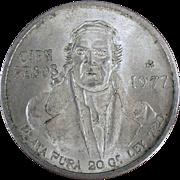 Old Silver Coin - 1977 Mexican Cien Pesos