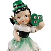 Vintage Birthday Angel – March Lass with Irish Shamrock – Old Lefton Figurine