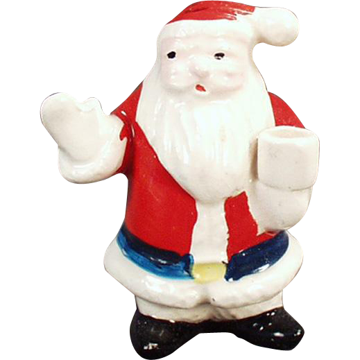 Vintage Christmas Candle Holder - Miniature Santa Claus Figure