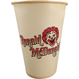 Vintage Ronald McDonald Dixie Cup – Old Mc Donald's Advertising – 1960's