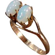 Vintage Ring with Two Oval Opals – Charming Old Ring – Small Size
