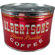 Vintage Albertson's Coffee Tin - Old 1# Key Wind Coffee Tin