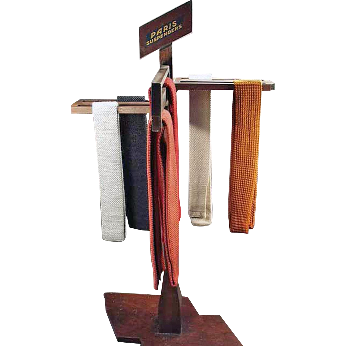 Vintage Advertising Display - Paris Suspenders - Old Wood Display Rack