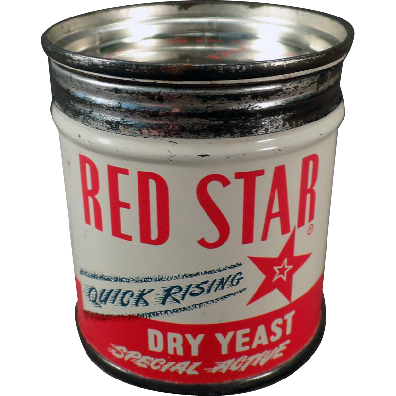 Vintage Red Star Yeast Tin - Old Key Wind Advertising Tin for the Kitchen
