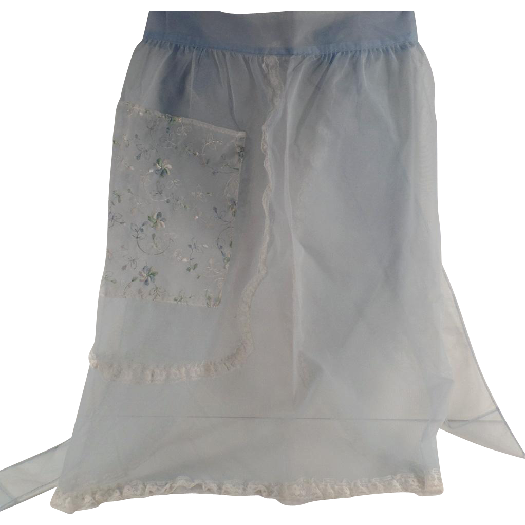 Vintage Kitchen Aporn - Sheer Baby Blue Old Half Apron with Lace and Decorative Pocket