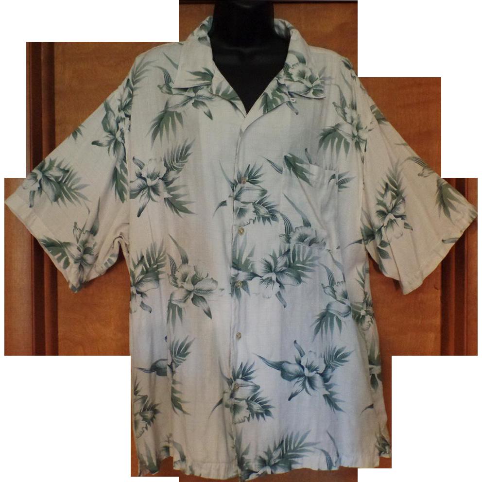 Vintage Hawaiian Style Casual Shirt – Orchid Flower Design - Knightsbridge – Size Large