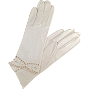 Vintage Kid Leather Gloves - Detailed Edge - Ladies Old Wrist Length Gloves Made in Italy