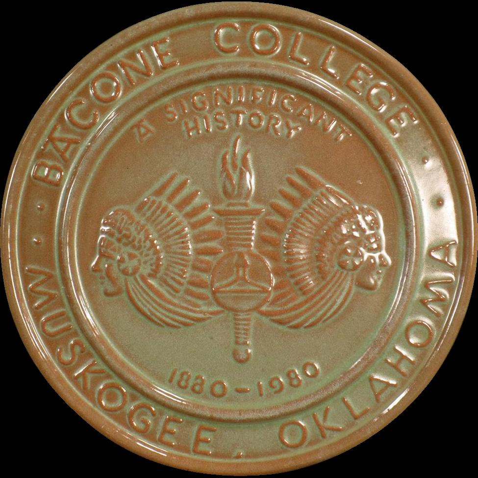 Vintage Frankoma Pottery - Old Bacone College Centennial Trivet - Prairie Green Glaze