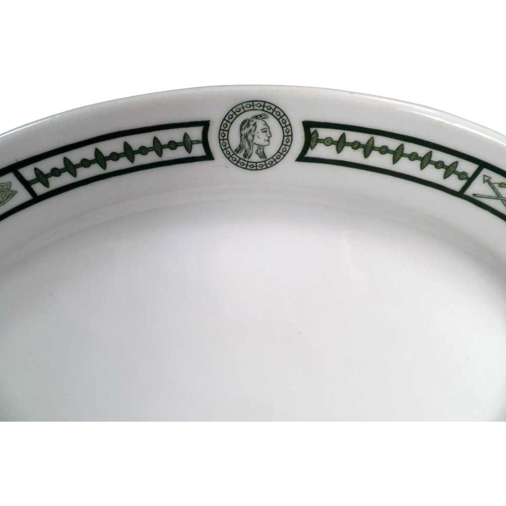 Vintage Restaurant China - Old Serving Platter with Indian Motif - Burley and Co. of Chicago