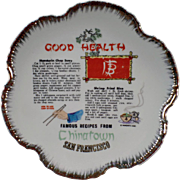 Vintage San Francisco Chinatown Souvenir Plate with Recipes - Old Hanging Plate