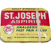 Vintage Medicine Tin - Old St.Joseph Aspirin Tin with Original Wrapping