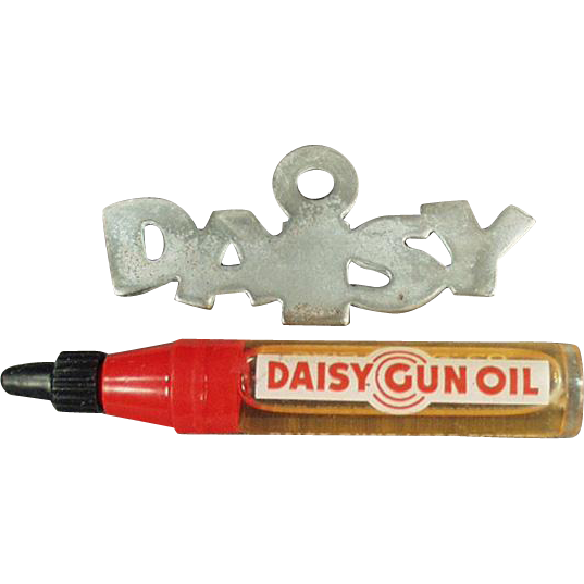 Vintage Daisy Gun Oiler and Old Metal Hang Tag for the Daisy Rifle