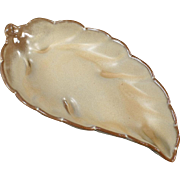 Vintage Frankoma - Old Pottery Leaf Dish -  #225 - Desert Gold Glaze
