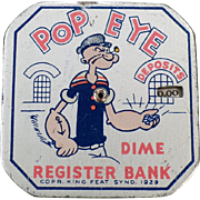 Vintage Popeye Bank – Old Tin Dime Register – King Features 1929